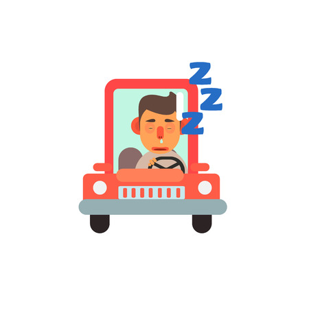 sleeping car: Traffic Code Sleeping Behind The Wheel Flat Isolated Vector Image In Simplified Cute Childish Style On White Background Illustration