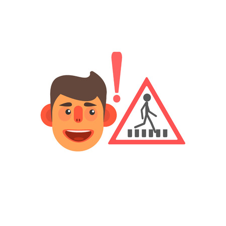 simplified: Traffic Code Pedestrian Crossing Flat Isolated Vector Image In Simplified Cute Childish Style On White Background