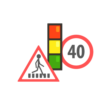 simplified: Traffic Code Limiting Signs Flat Isolated Vector Image In Simplified Cute Childish Style On White Background Illustration