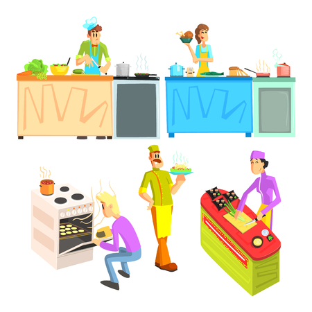 crouching: Cooking Illustrations Collection In Simple Childish Style Flat Vector Design On White Background Illustration