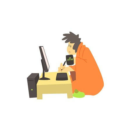 cute guy: Guy Working Home At Night Cute Cartoon Style Flat Vector Illustration On White Background Illustration