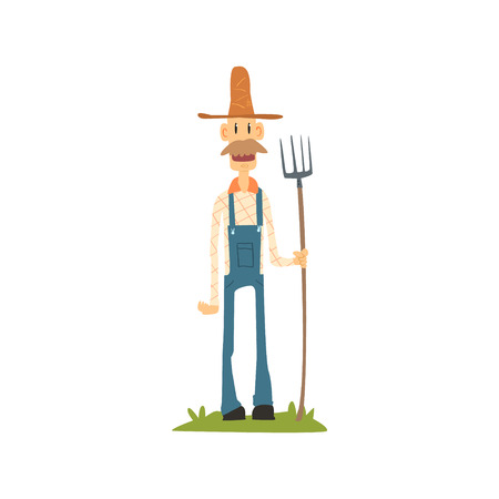 Classic Skinny Farmer In Jumpsuit Flat Isolated Vector Image In Simple Childish Style On White Background