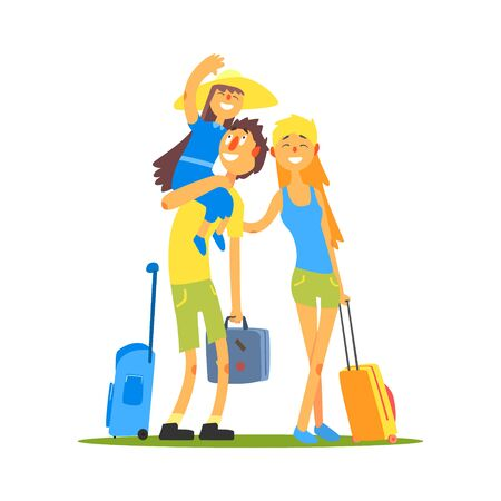Family Of Three Travelers Primitive Flat Vector Drawing In Simple Cartoon Style On White Background Vektorové ilustrace