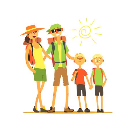 Familia de cuatro viajeros primitivo plano de dibujo vectorial en estilo de dibujos animados simple en el fondo blanco