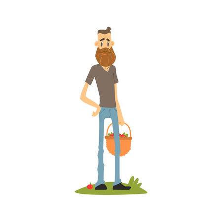 picked: Hipster Skinny Farmer Flat Isolated Vector Image In Simple Childish Style On White Background