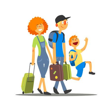 Viajar Familia que va el vacaciones primitivo plano de dibujo vectorial en estilo de dibujos animados simple en el fondo blanco