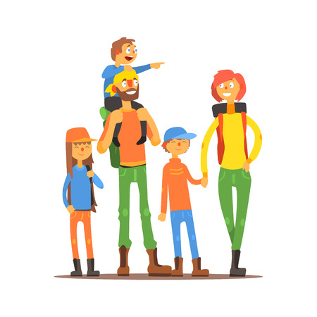 Family Of Five Travelers Primitive Flat Vector Drawing In Simple Cartoon Style On White Background