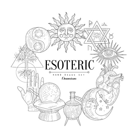 Esoteric Collection Vintage Vector Hand Drawn Design Card Vettoriali