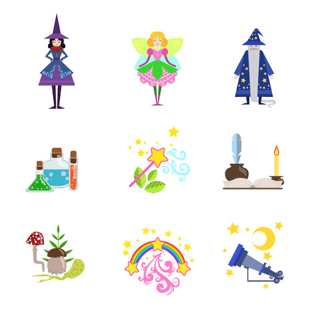 girly: Fairytale Characters And Related To Them Objects Set Of Flat Vector Icons In Cute Girly Style Isolated On White Bckground Illustration