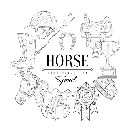 riding boot: Horse Related  Vintage Vector Hand Drawn Design Card Illustration
