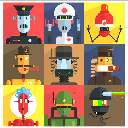 weird: Cartoon Robots Of Different Professions  Isolated On Colorful Backgrounds In Childish Weird Vector Design Illustration