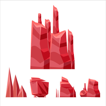 weird: Cartoon Weird Red Rock Set Vector Isolated Landscape Elements For Video Game Design