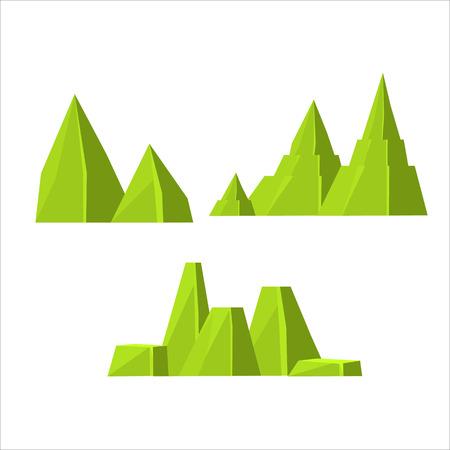 漫画奇妙な緑ロック セット ベクトルはビデオゲームの設計の景観要素を分離