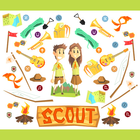couple hiking: Children Scouts Vector Flat Cartoon Colorful IIlustration