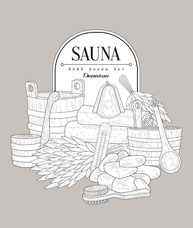 besom: Sauna Set Vintage Vector Hand Drawn Design Card