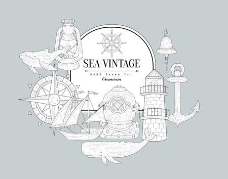 stirring: Sea Themed Vintage Vector Hand Drawn Design Card