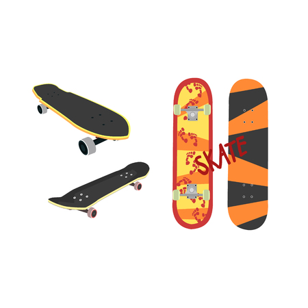 sides: Skateboard Design From Different Angles Flat Vector Illustration In Realistic Style On White Background