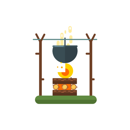 primitive: Cooking Pot On Fire Primitive Style Graphic Colorful Flat Vector Image On White Background