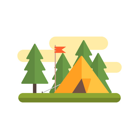 campground: Tent In Woods IPrimitive Style Graphic Colorful Flat Vector Image On White Background