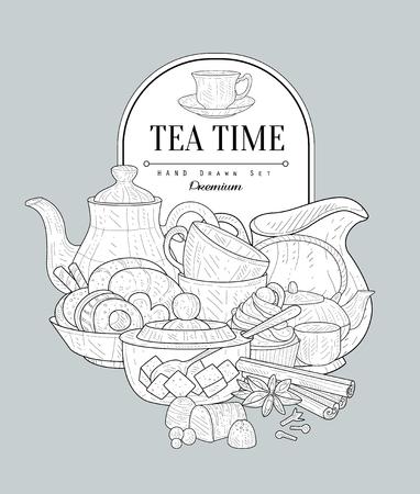 Tea Time Vintage Vector Hand Drawn Design Card
