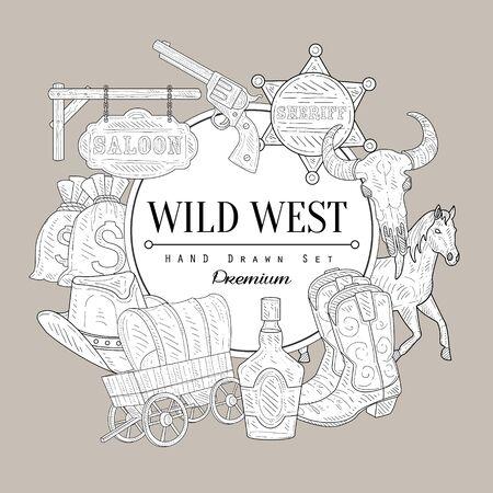 Wild West Set Vintage Vector Hand Drawn Design Card