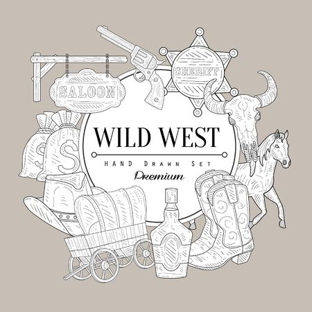 death valley: Wild West Set Vintage Vector Hand Drawn Design Card