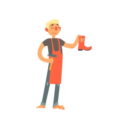 barefoot cowboy: Profession Shoemaker Primitive Cartoon Style Isolated Flat Vector Illustration On White Background