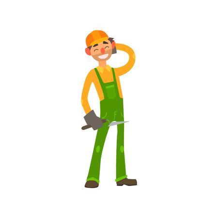 float fun: Profession Builder Primitive Cartoon Style Isolated Flat Vector Illustration On White Background Illustration