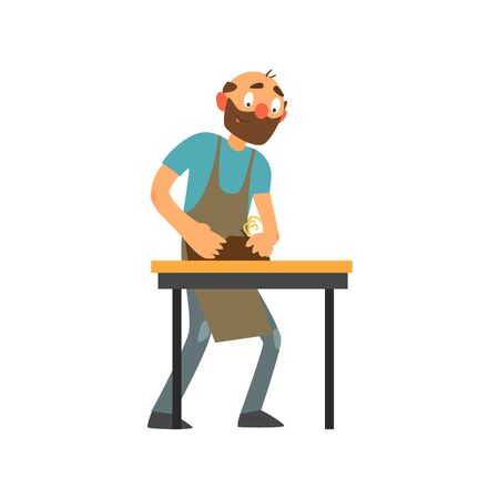 Profession Joiner Primitive Cartoon Style Isolated Flat Vector Illustration On White Background
