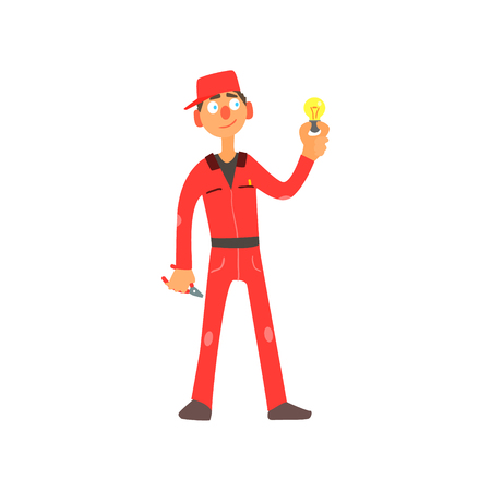 wireman: Profession Electrician Primitive Cartoon Style Isolated Flat Vector Illustration On White Background