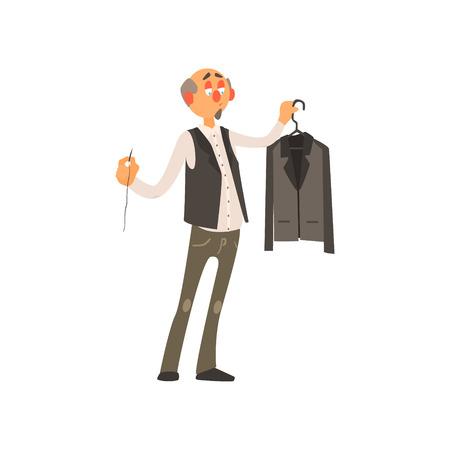 Beroep Tailor primitieve Cartoon stijl geïsoleerd platte vectorillustratie op witte achtergrond