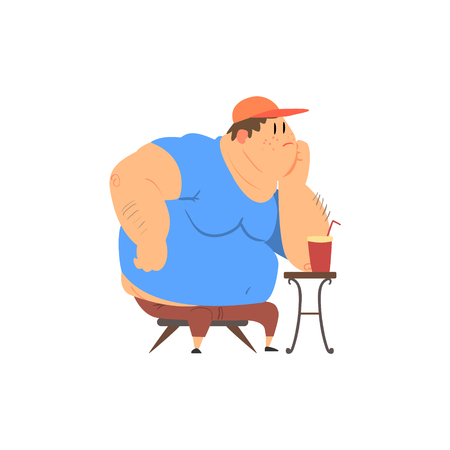 rotund: Fat Guy Sitting at The Coffee Table Flat Vector Cartoon Style Funny Illustration On White Background Illustration