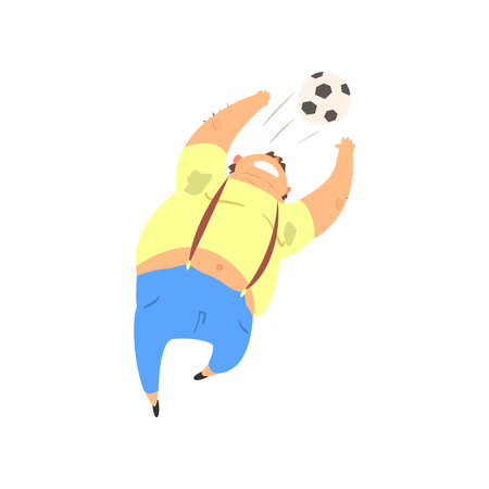 Fat Guy Playing Football Flat Vector Cartoon Style Funny Illustration On White Background