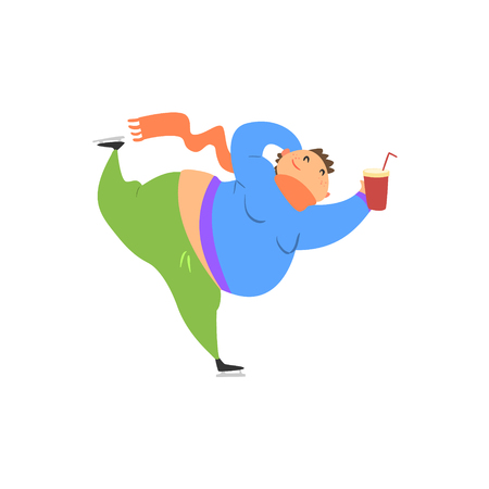bloated: Fat Guy Ice Skating Flat Vector Cartoon Style Funny Illustration On White Background
