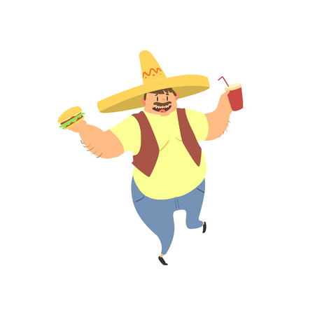 portly: Fat Guy In Mexican Hat Flat Vector Cartoon Style Funny Illustration On White Background
