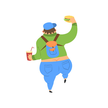 ass fun: Fat Guy Walking Away Flat Vector Cartoon Style Funny Illustration On White Background