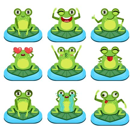 girly: Frogs Sitting On Leaf  Flat Vector Icons Collection In Cute Girly Style Isolated On White Background Illustration