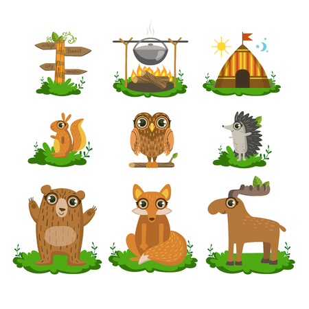 wigwam: Forest Camping Flat Vector Icons Collection In Cute Girly Style Isolated On White Background Illustration