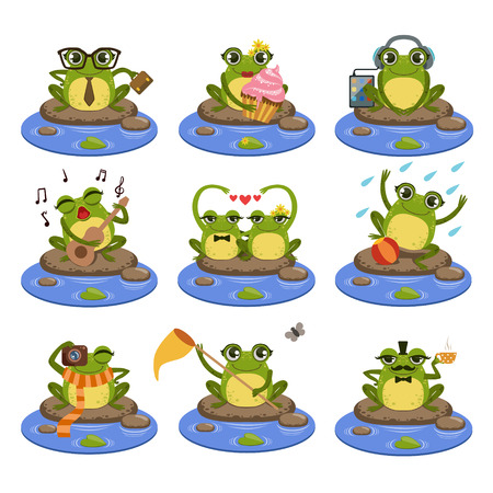 Frogs Sitting On The Stone  Flat Vector Icons Collection In Cute Girly Style Isolated On White Background 矢量图像