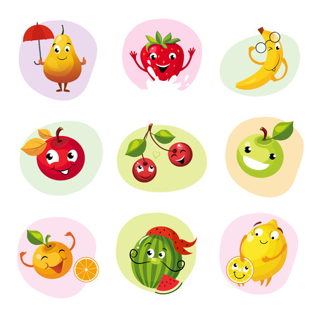 home grown: Funny Fruit Caracters Set Of Colorful Flat Vector Icons In Childish Cartoon Style Isolated On Different Backgrounds