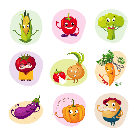 home grown: Funny Vegetable Characters Set Of Colorful Flat Vector Icons In Childish Cartoon Style Isolated On Different Backgrounds