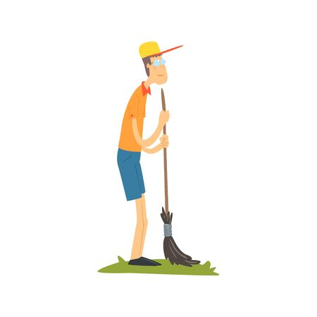 sweeping: Guy In Glasses Sweeping Flat Isolated Vector Image In Simple Childish Style On White Background