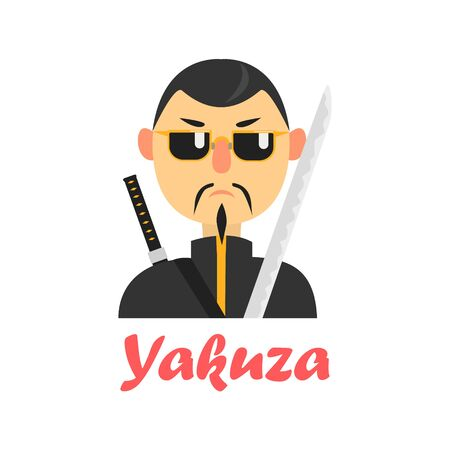 characterizing: Japaneese Yakuza Cartoon Style Flat Vector Illustration On White Background With Text