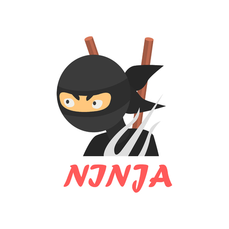 invincible: Ninja Cartoon Style Flat Vector Illustration On White Background With Text