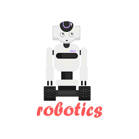 characterizing: Japaneese Robot Cartoon Style Flat Vector Illustration On White Background With Text