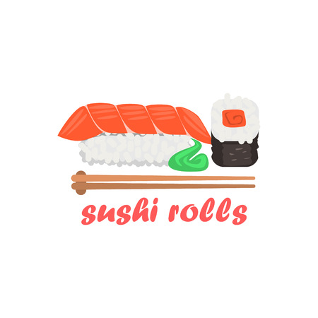 Sushi Rolls Cartoon Style Flat Vector Illustration On White Background With Text Illustration