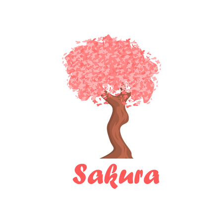Sakura Cartoon Style Flat Vector Illustration On White Background With Text