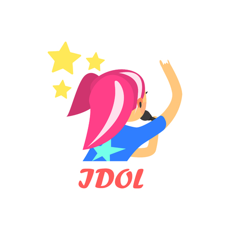 characterizing: Japaneese Pop Idol Cartoon Style Flat Vector Illustration On White Background With Text