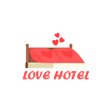 Love Hotel Cartoon Style Flat Vector Illustration On White Background With Text