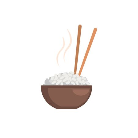 Rice Bowl Cartoon Style Flat Vector Illustration On White Background With Text Illustration